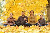 Happy family meditate