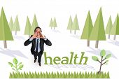 The word health and shouting businessman against forest with trees
