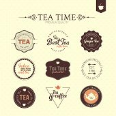 Collection of premium quality tea and coffee labels