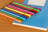 Blue Writing Book And Multicolored Pens.