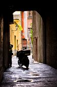 foto of ferrara  - Mail delivery at typical backstreet at downtown of Ferrara - JPG