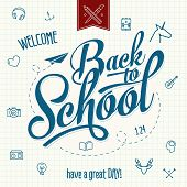 Back to School Typographic Elements - Vintage Style Back to School Design Layout In Vector Format