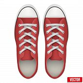 pair of red simple sneakers. Realistic Vector Illustration.