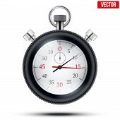 Realistic shine analog stop watch frimed rubber tires. Vector illustration.