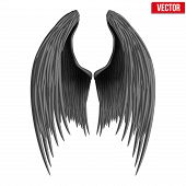 Black folded angel wings. Vector.