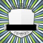 Blank Shield Vintage Banner On Stripes Background