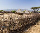 Traditional Tsemay Houses. Weita. Omo Valley. Ethiopia.