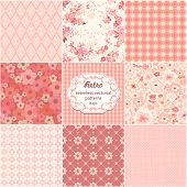 Collection of seamless retro patterns, vector illustration.
