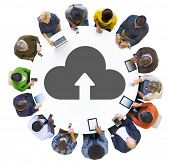 Multiethnic Group of People Cloud Computing