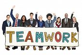 Cheerful Diverse Business People and Text Teamwork