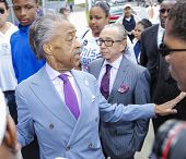 Reverend Sharpton at church entrance