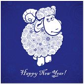 Funny Sheep On Blue Background
