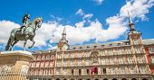 Panorama of Plaza Mayor in Madrid , Spain