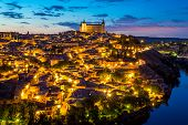 Toledo Cityscape with Alcazar in Madrid Spain