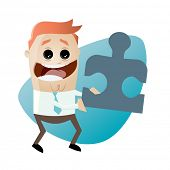 funny cartoon businessman with jigsaw puzzle
