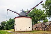 picture of moselle  - Medieval harbor crane along the Moselle bank in Trier Germany - JPG