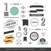 Hipster style infographics elements set for retro design. With ribbons, labels, rays, numbers, arrows, borders, diamonds and anchors. Vector illustration