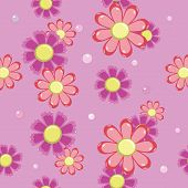 seamless background of pink and red flowers
