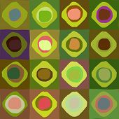 art abstract geometric textured colorful background with circles in green and rainbow colors