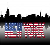 New York skyline reflected with American flag text vector illustration