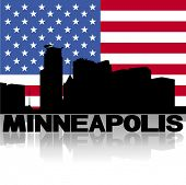 Minneapolis skyline and text reflected with American flag vector illustration