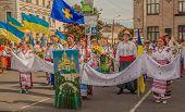 A Delegation From The Poltava Region On Parade Vyshivanok (embroidery)