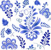Blue floral elements in Russian gzhel style