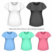 Maternity short sleeve t-shirt design template (front view). Black, white and color variants.