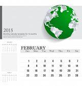 Simple 2015 calendar, February. Vector illustration.