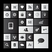 Set of black and white metro icons