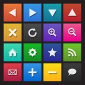 Web navigation icons on colored tiles