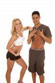 Fitness Man Show Abs Woman Flex