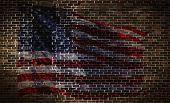 Usa Flag On Brick Wall