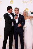 LOS ANGELES - AUG 25:  Jimmy Fallon, Derek Hough, Julianne Hough at the 2014 Primetime Emmy Awards - Arrivals at Nokia Theater at LA Live on August 25, 2014 in Los Angeles, CA