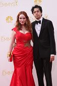 LOS ANGELES - AUG 25:  Christina Hendricks, Geoffrey Arend at the 2014 Primetime Emmy Awards - Arriv