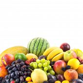 Border of mixed fruits isolated on white with copy space fot text
