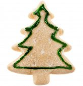 christmas cookies tree surface top view close up macro shot isolated on a white background