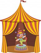 Cartoon clown boy juggling with colorful balls in a circus tent