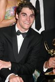 LOS ANGELES - AUG 25:  R.J. Mitte at the 2014 Primetime Emmy Awards - Press Room at Nokia Theater at LA Live on August 25, 2014 in Los Angeles, CA