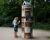 Lending library in a park in Warnemunde, Germany