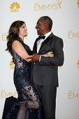 LOS ANGELES - AUG 25:  Nora Chavooshian, Joe Morton at the 2014 Primetime Emmy Awards - Press Room a