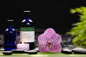 spa concept orchid and ,stones , green leaf. candle, massage oil