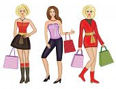 Beautiful women with a shopping bag (vector illustration)