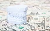 Plaster cast of teeth on dollar notes