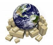 Global shipping and delivery courier service, parts of this image furnished by NASA