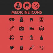 medicine, health, medical, hospital, doctor isolated icons, signs, symbols, illustrations, silhouett