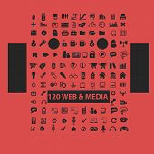 120 universal web, media isolated icons, signs, symbols, illustrations, silhouettes, vectors set