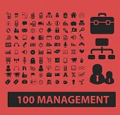 100 management, marketing, bank, finance, structure isolated icons, signs, symbols, illustrations, s