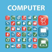 computer, mobile, smartphone isolated icons, signs, symbols, illustrations, silhouettes, vectors set