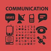 mobile communication isolated icons, signs, symbols, illustrations, silhouettes, vectors set